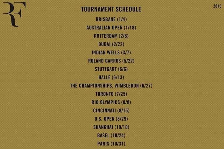 Calendario Roger Federer 2016