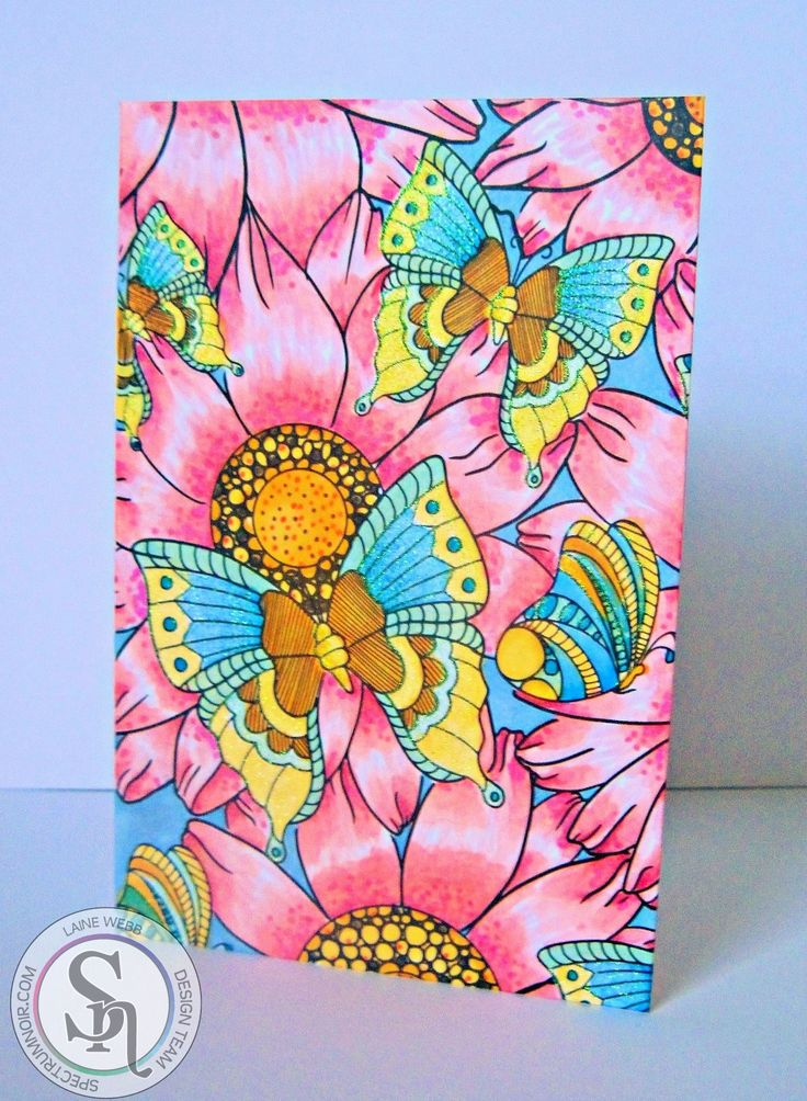 Spectrum Noir Colorista Card Making Kit - Butterfly Garden with Glitter. Designed by Laine. Colorista markers used: Rose, Orchid, Magenta, Lemon, Gold, Cobalt, Blue Pearl, Periwinkle, Mint Green. #spectrumnoir #colorista #markers #floral #butterfly #glitter