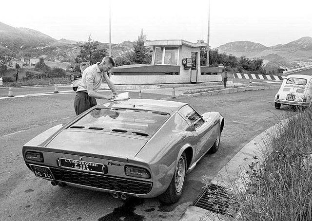Bob Wallace Test Driving The Groundbreaking Lamborghini Miura P400 On  Public Roads, 1966