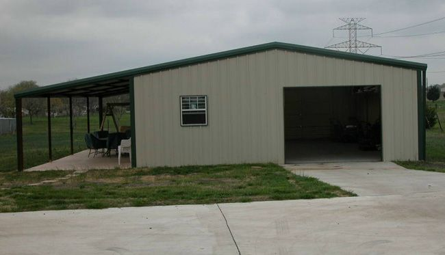 custom metal building with back porch storage buildings