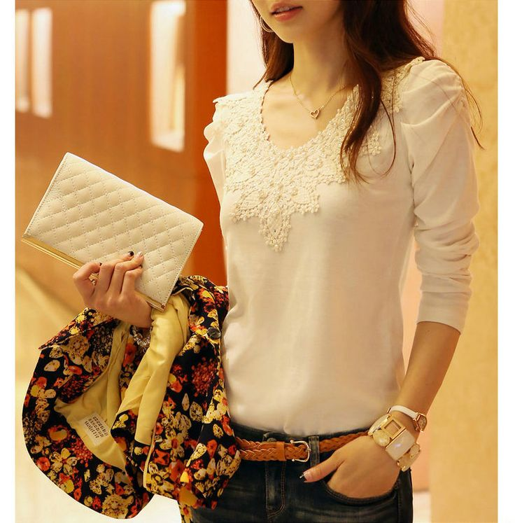2014 brand autumn spring new women's casual and fashion shirt lace tops cute elegant long sleeves blouses-inBlouses & Shirts from Apparel & ...
