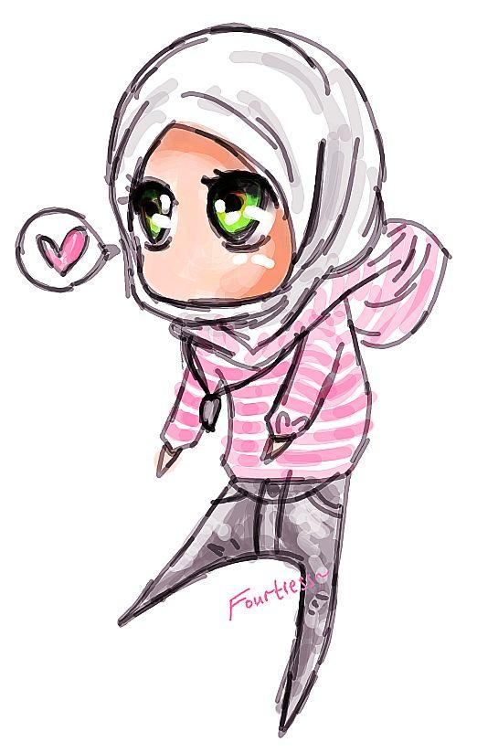 Hijabi Muslimah Chibi Drawing