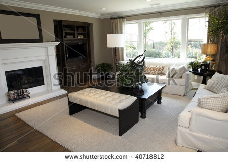 Stock Photo : Living Room With A Fireplace And Modern Decor.