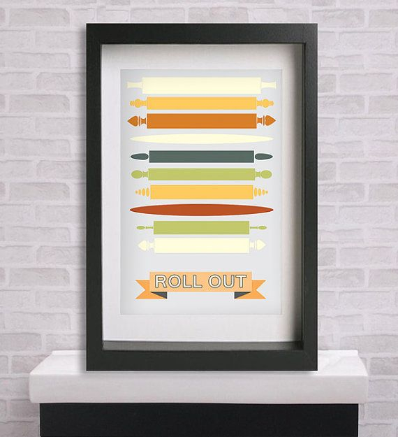 Midcentury Modern Kitchen Rolling Pins Poster by PosterDepot, $8.00