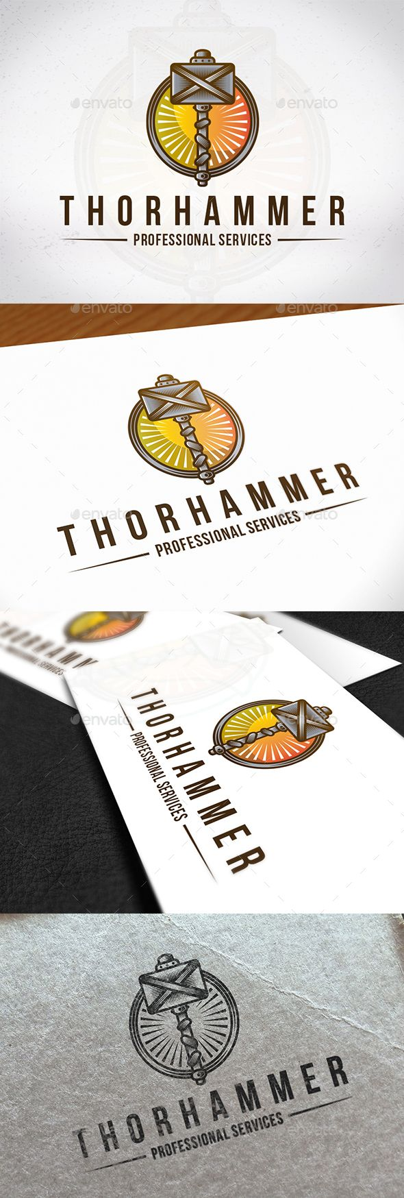 Thor Hammer Logo Crest - Objects #Logo #Templates Download here:  https://graphicriver.net/item/thor-hammer-logo-crest/20203551?ref=alena994