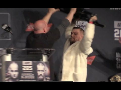 MMA Conor McGregor & Eddie Alvarez Go Ballistic Over Chair Throwing Threat at UFC 205 Press Conference