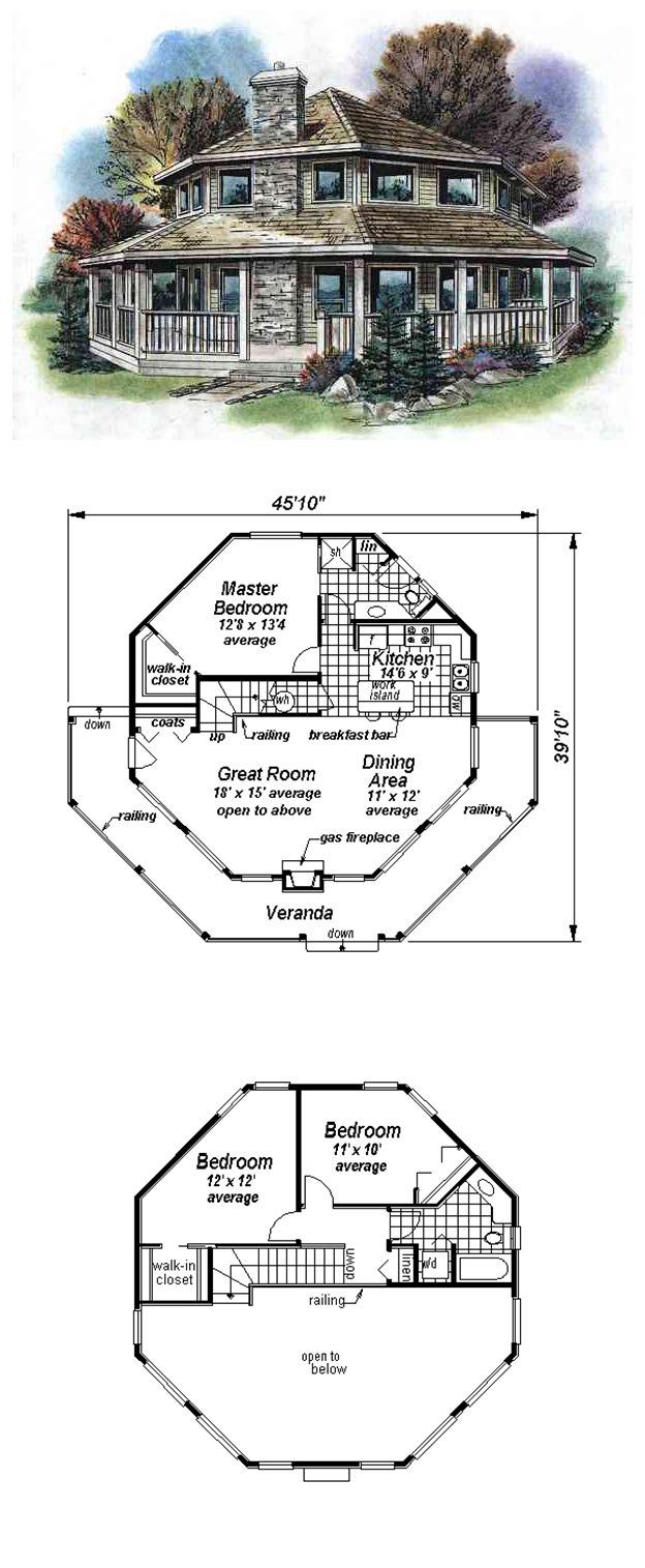 16 best octagon style house plans images on pinterest for Octagon cabin floor plans