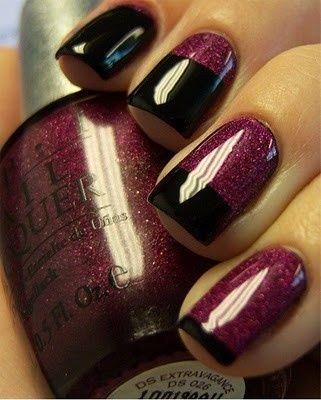 black and purple: French Manicure, Nail Polish, Nailart, Color, Makeup, Nail Designs, Nail Ideas, Nail Art