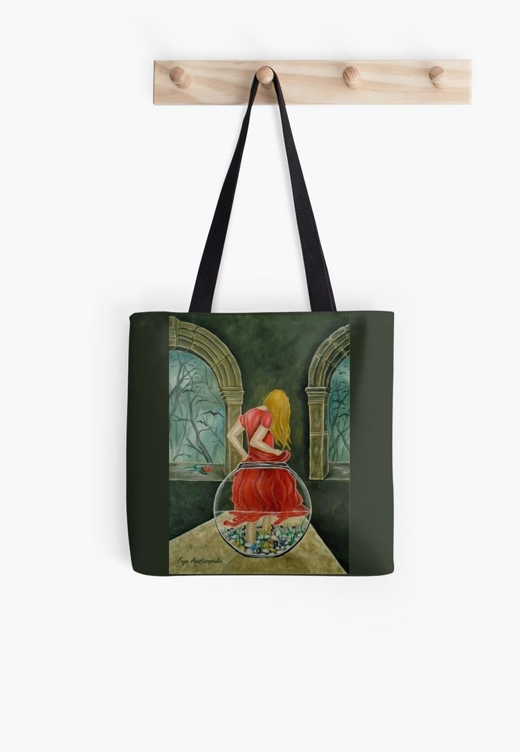 Tote Bag,   fishjar,fishbowl,girl,woman,female,feminine,figure,red,dress,long,hair,fantasy,colorful,impressive,cool,beautiful,unique,trendy,artistic,unusual,accessories,for sale,design,items,products,gifts,presents,ideas,redbubble