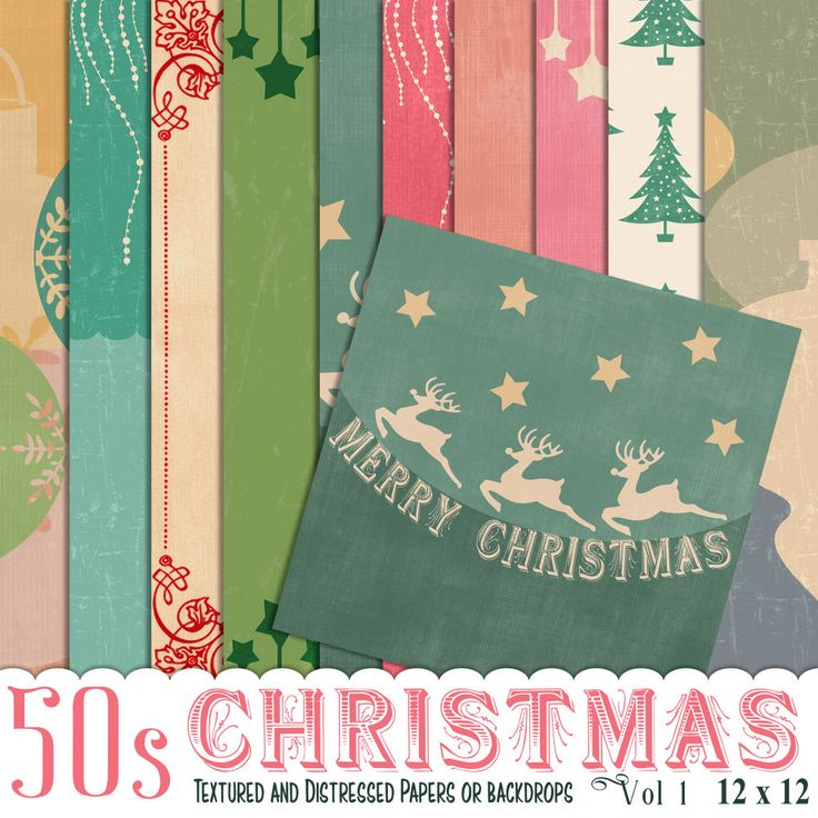 50s Christmas papers, Vintage christmas, Photo Backdrop, Christmas paper, Instant Download, Scrapbook paper,  Christmas Scrapbook by JustDigitalPapers on Etsy