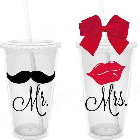Mr. & Mrs. Mustache and Lips Party Gifts Wedding Party Gifts Personalized 16 oz. Acrylic Tumblers on Etsy, $24.00