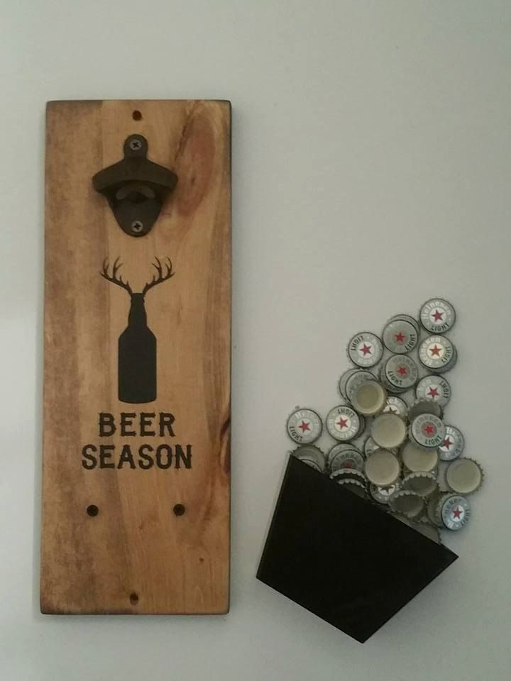 Wall Mount Bottle Opener and Cap Catcher, 6th Anniversary, Cast Iron Gift, Hunter Gift  Beer Season  Made to order. Pictures are previous orders.  This handsome Wall mount Bottle Opener is stained and painted.  Perfect for a man cave, home bar, garage, or anyplace where everyone comes together to enjoy their favorite bottled beverage  Great novelty piece for the guy or gal who has everything.  Anyone who is deserving of a UNIQUE ONE OF A KIND gift!  Our Bottle Openers make GREAT anniversary…