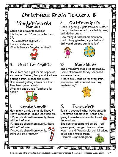 Christmas Math Games, Puzzles and Brain Teasers from Games 4 Learning. It is loaded with Christmas math fun. It includes printable Christmas math board games, printable Christmas math puzzle sheets and Christmas math brain teaser cards. $
