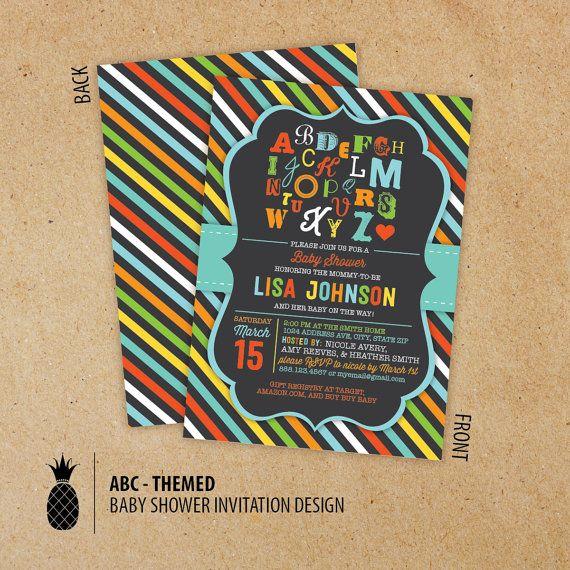 Alphabet Baby Shower Invitations by PPDesignCo on Etsy