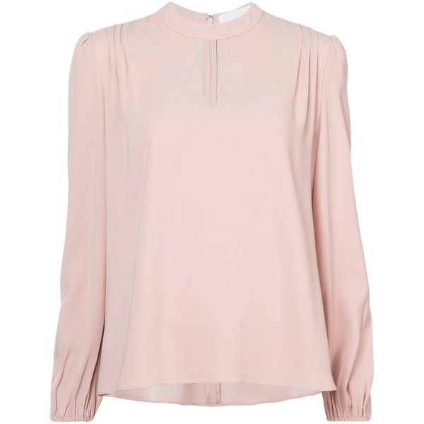 Japenese Crepe Blouse ($595) ❤ liked on Polyvore featuring tops, blouses, crepe top, crepe blouse, long sleeve tops, pink long sleeve top and pink blouse