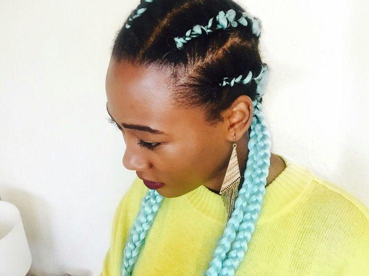 Blue cornrows, natural hair style