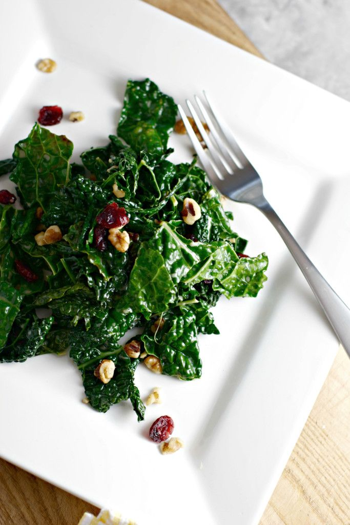 Winter Wilted Kale Salad with Dried Cranberries and Walnuts ~vegan, gluten free~