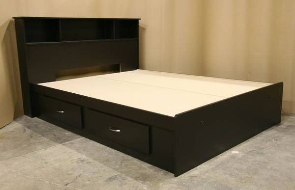 New Espresso Brown Full Size Double Captains Bed Frame with Headboard