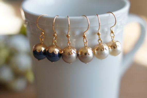 Swarovski Pearl Earrings Color Night Blue Light by MyBijouxDesign