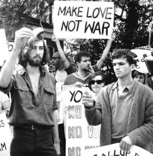 This led to the popular slogan which resounds through the 1960′s hippie culture which is 'Make love not war'