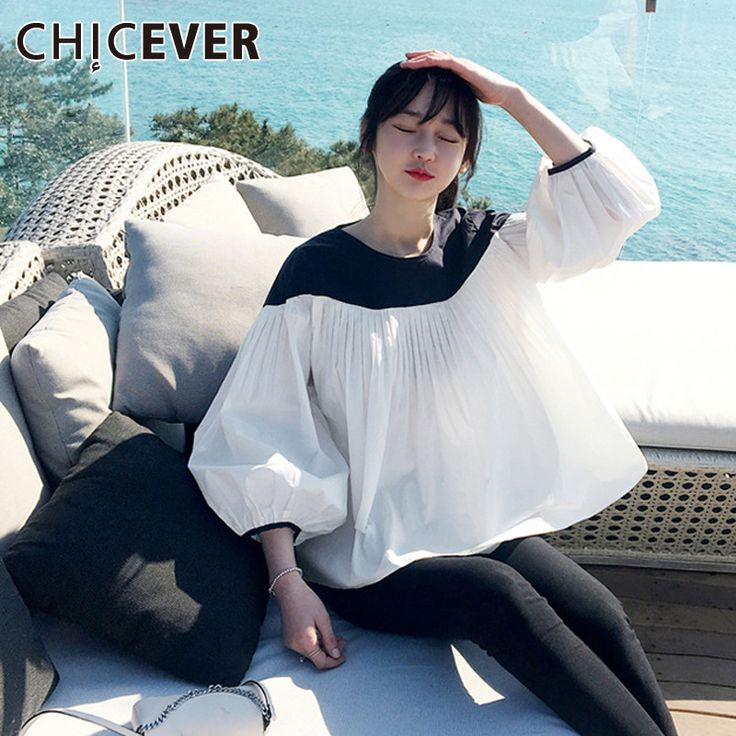 >> Click to Buy << [CHICEVER] 2017 Summer Puff Sleeve Female T shirt For Women Tops Pleated Chiffon Top Clothes Korean Top New Fashion #Affiliate