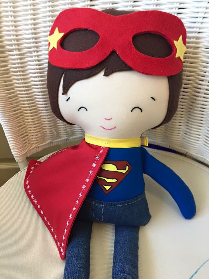Superman inspired handmade doll By Desiree Rodriguez  https://www.facebook.com/Peace-N-Love-Dolls-by-Desiree-186299848074820/  Pattern by dolls and daydreams