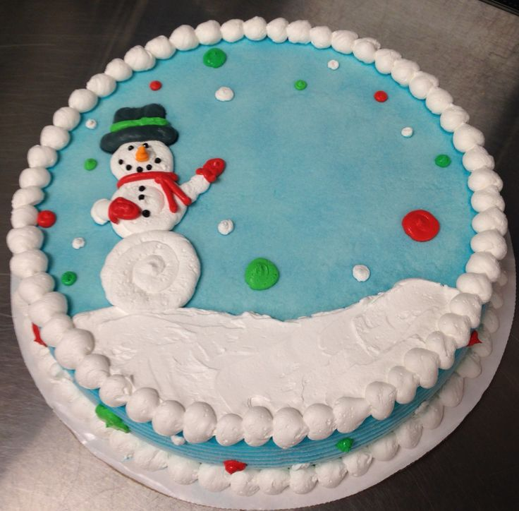 Snowman scene DQ ice cream cake