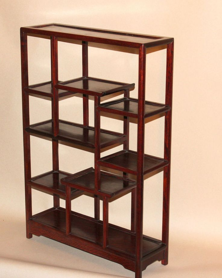 vintage chinese rosewood table top curio display shelf cabinet etagere