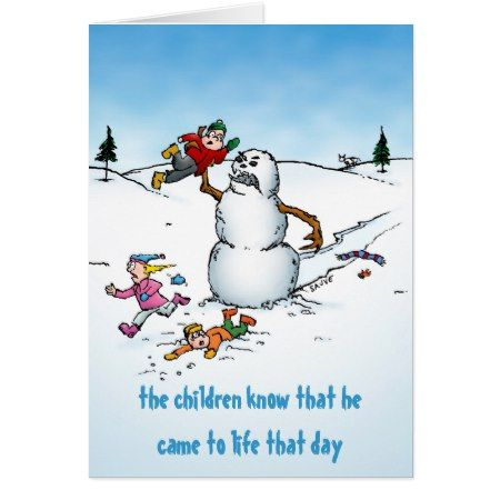 Killer Snowman Funny Cartoon Holiday Card - tap, personalize, buy right now!