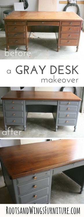 A refinished gray executive style desk. Top refinished wood, base refinished with Driftwood Gray Milk Paint. Before and After by Jenni of Roots and Wings Furniture.