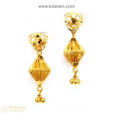 22K Gold Jhumkas - Gold Dangle Earrings - 235-GJH1489 - Buy this Latest Indian Gold Jewelry Design in 2.500 Grams for a low price of  $162.50