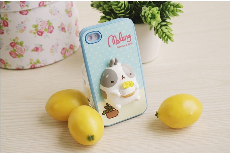 iPhone 4 Cute Molang Change Up 3D Jelly Case Blue Lemon