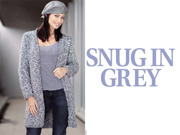 Knit this grey cardigan. Click for pattern.