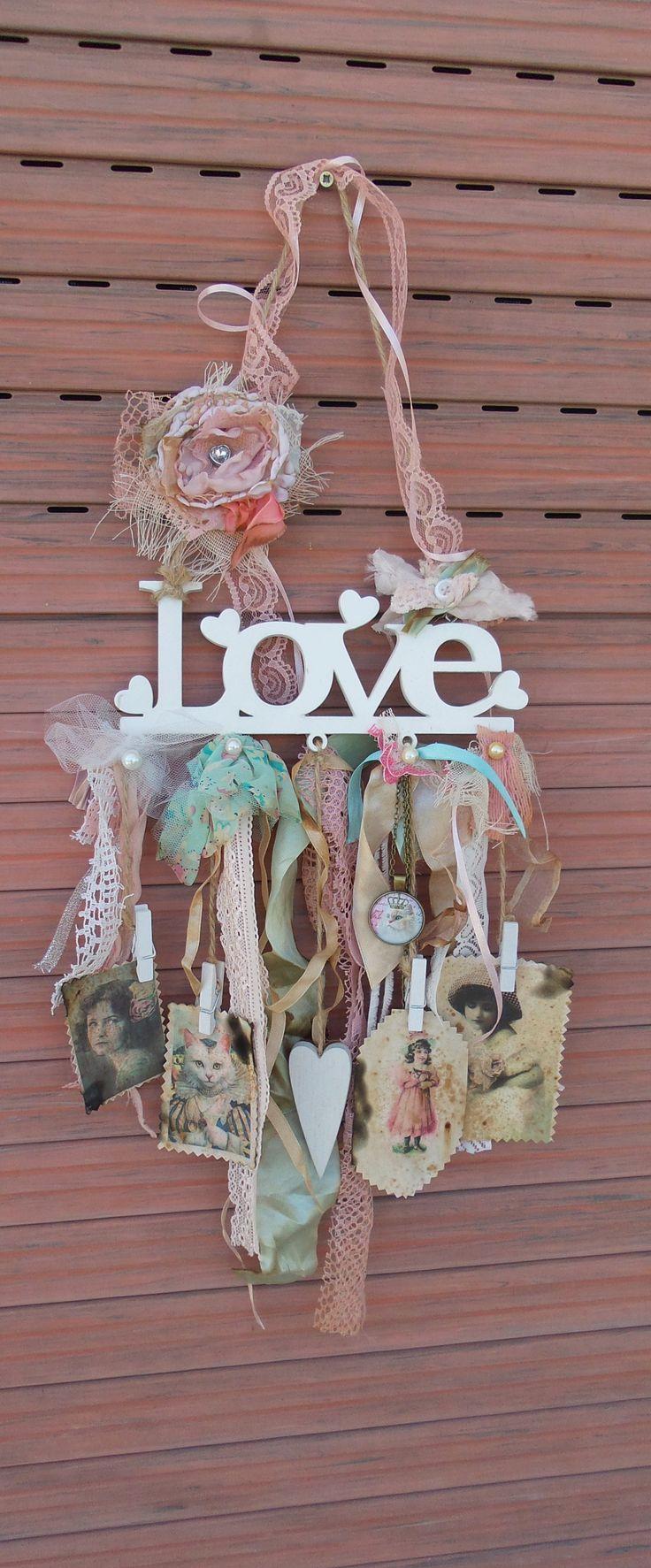 Shabby Decor, LOVE sign, Boho chic decor, Bohemian soul, LOVE Wood Letters, Shabby cat, Love, Wood Love Sign, French Vintage Inspired Cat