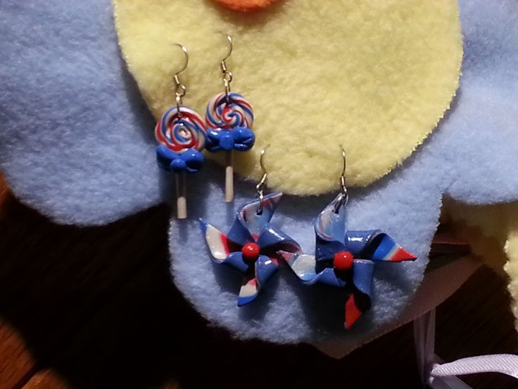 Red, white, and blue earrings. Made with polymer clay.