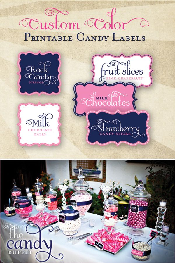 hwtm free printable labels. And look at that candy display!  Take note of all the containers and ways of displaying
