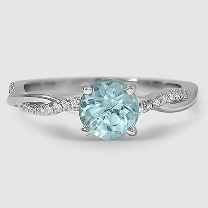 18K White Gold Petite Twisted Vine Diamond Ring Set with 6mm Fine Round Aquamarine (From Unique Colored Gemstone Gallery) PRICE: $1,900