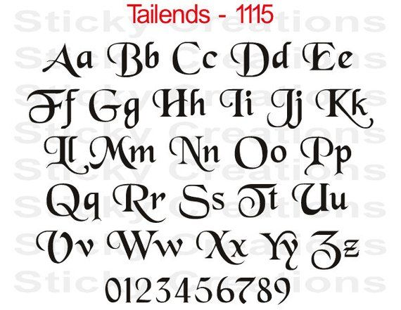 Custom Text Tailends Font Customized Personalized Letters