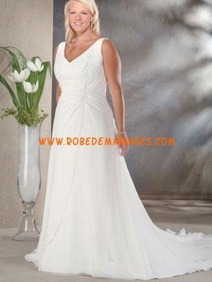 Robe de mariée grande taille mousseline appliqué sur mesure