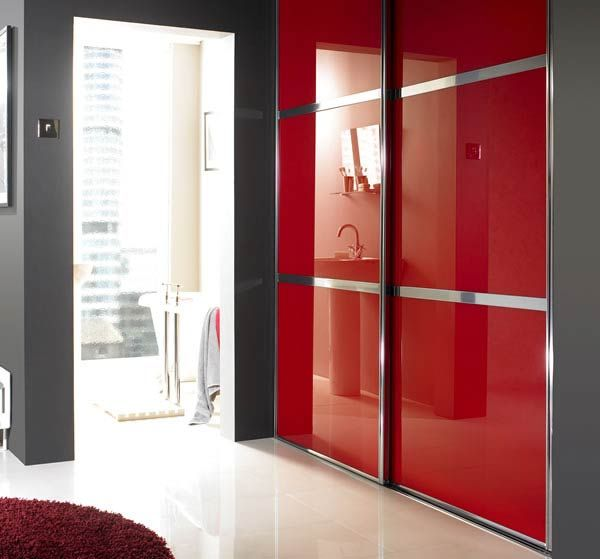Red Glass Sliding Wardrobe Doors with H Bars