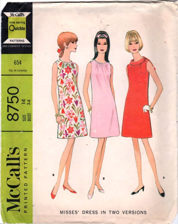 McCalls 8750  1960s Misses  Mod Shift  Dress  Pattern  by mbchills, $10.00