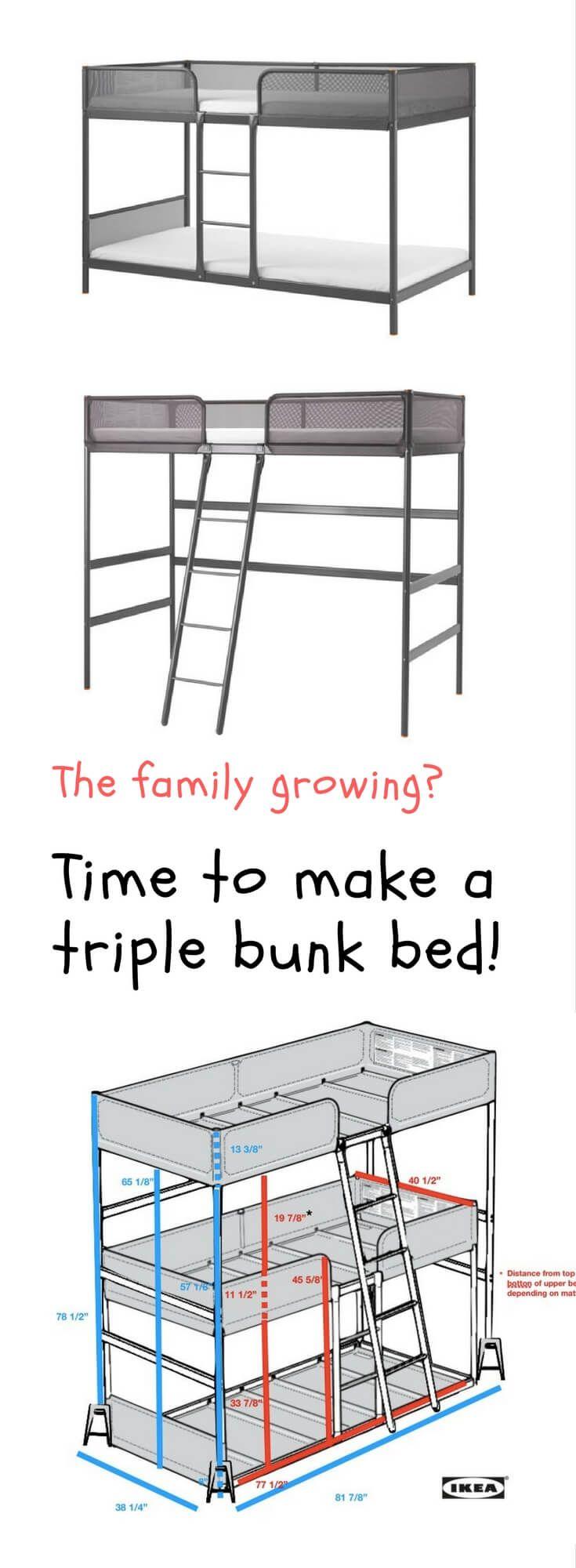 Triple bunk bed DIY http://www.ikeahackers.net/2017/08/triple-bunk-bed-diy.html