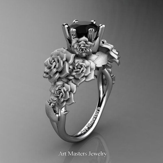 nature inspired 14k white gold 10 ct black diamond rose bouquet leaf and vine engagement ring - Gothic Wedding Rings