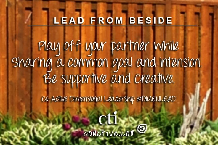 Lead From Beside. Play off your partner while sharing a common goal and intension. Be supportive and creative. Co-Active Dimensional Leadership #DimenLead