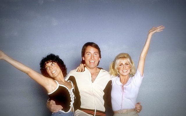 "The Cast of ""Three's Company""- Jack was a huge clutz (his last name was Tripper) and he always managed to bring Janet and Chrissy down with him."