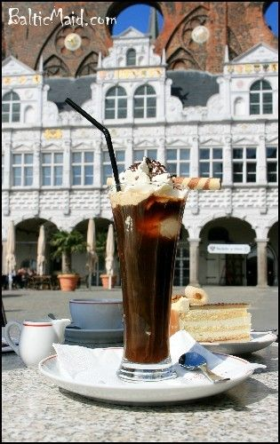 German Iced Coffee – Eiskaffee_I used to work in different cafés in Germany and during warm weather this iced coffee was always a popular drink and still is. This coffee with ice cream and whipped cream is very easy to prepare at home although it is best enjoyed in a street café in the middle of a busy market or maybe on a quiet side street on a warm sunny day.