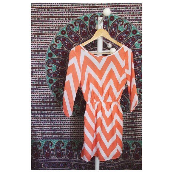 Orange Chevron Dress Orange Chevron Dress • new condition Charlotte Russe Dresses