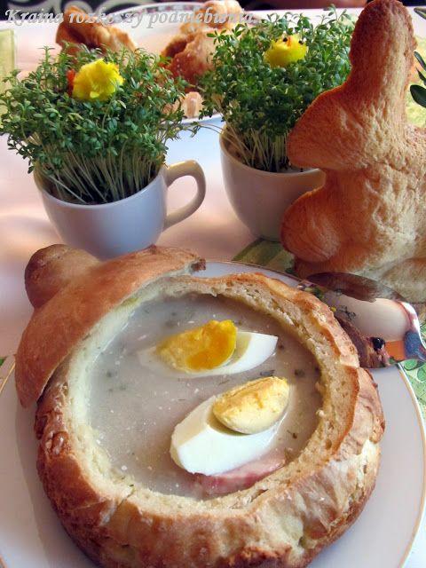 Kraina rozkoszy podniebienia...: Wielkanocny żurek w chlebie