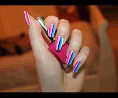 Striped Nail Art ❤ - YouTube