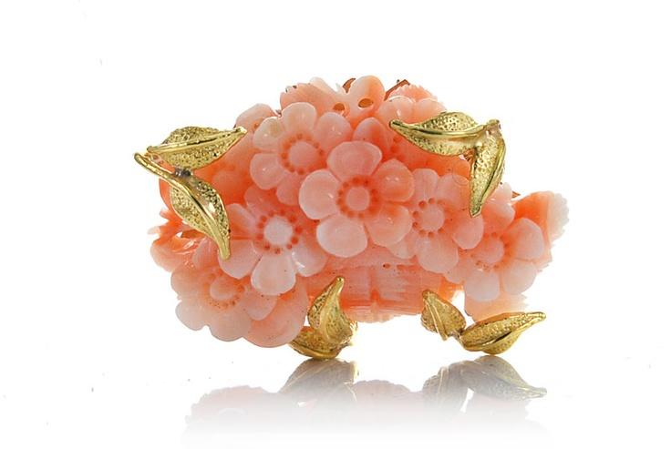 Ciondolo oro 750 cesto fiori corallo rosa artigianale i gioielli del mare circeo terracina